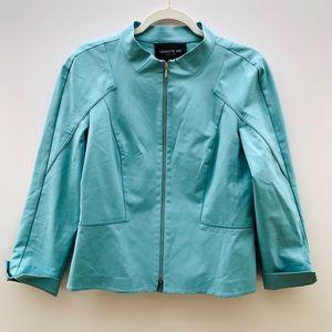 Lafayette 148 Aqua Cotton Blend Full Zip Jacket 8